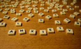 Anxiety letters. Letters arranged to form Anxiety Stock Images
