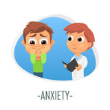 Anxiety medical concept. Vector illustration. Doctor and patient are talking in the hospital. Isolated on white background vector illustration