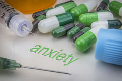 Anxiety, medicines and syringes as concept Stock Photography