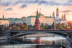 Anxiety morning. At the Moscow Kremlin and the first rays of the sun Royalty Free Stock Image