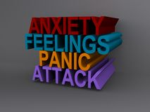 Anxiety and panic attack. 3d illustration of anxiety, feelings and panic attack sign Royalty Free Stock Image