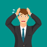 Anxiety person portrait on blue background. Cartoon illustration. Anxious hold hands at his face and scream. Headache pain. Worried loser. Tired, upset person Royalty Free Stock Photos