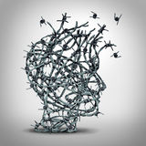 Anxiety Solution. And freedom from fear and escape from tortured thinking and depression concept as a group of tangled barbwire or barbed wire fence shaped as a stock illustration