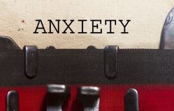 Anxiety. Typed on an old vintage paper with od typewriter font royalty free stock images
