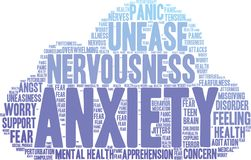 Anxiety Word Cloud. On a white background Stock Photos