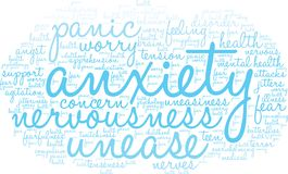 Anxiety Word Cloud. On a white background Royalty Free Stock Image