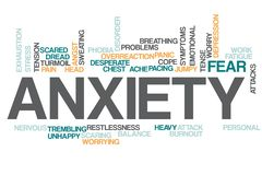 Anxiety word cloud. Illustration of word cloud tags related to Anxiety concept royalty free illustration