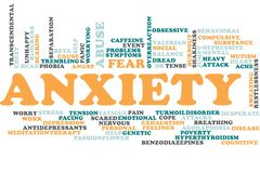 Anxiety word cloud. Illustration of word cloud tags related to Anxiety concept stock illustration