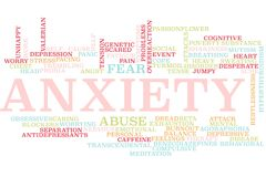 Anxiety word cloud. Illustration of word cloud tags related to Anxiety concept vector illustration