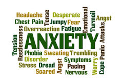 Anxiety. Word cloud on white background royalty free illustration