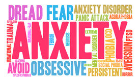 Anxiety Word Cloud. On a white background royalty free illustration