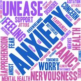 Anxiety Word Cloud. On a white background Royalty Free Stock Photo