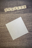 Anxiety. Word formed with wooden blocks Royalty Free Stock Image