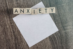 Anxiety. Word formed with wooden blocks Stock Photos