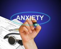 Anxiety. Writing word Anxiety with marker on gradient background made in 2d software Royalty Free Stock Photo