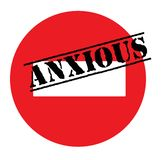 Anxious advertising sticker. Label, stamp on white stock illustration