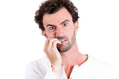 Anxious biting fingernails Royalty Free Stock Images