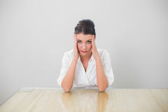 Anxious brown haired businesswoman posing Royalty Free Stock Photos