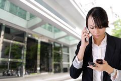 Anxious business woman phone Stock Photo