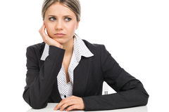 Anxious business woman thinking Royalty Free Stock Photo