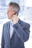 Anxious businessman on the phone Stock Images