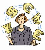 Anxious businesswoman juggling currency symbols Stock Photography