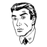Anxious emotional face men fear uncertainty of the eye retro. Anxious emotional face men fear the uncertainty of the eye retro line art graphics royalty free illustration