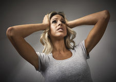 Anxious girl. Anxious young woman emotional portrait depression. People expressions Stock Images
