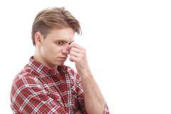 Anxious guy touching his head Stock Photos