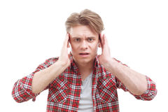 Anxious guy touching his head Royalty Free Stock Photography