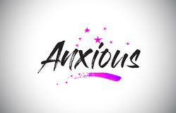Anxious Handwritten Word Font with Vibrant Violet Purple Stars and Confetti Vector. Anxious Handwritten Word Font with Vibrant Violet Purple Stars and Confetti stock illustration