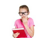 Anxious little girl student Royalty Free Stock Photos