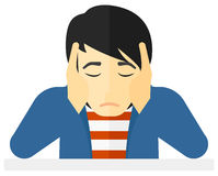 Anxious man clutching his head. Vector flat design illustration  on white background Stock Photography