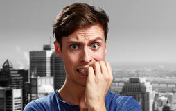 Anxious man face. Royalty Free Stock Photo