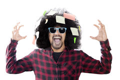 Anxious man screaming with sticky notes Stock Photography