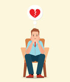 Anxious man thinking and feeling sadness about broken heart. Anxious man thinking and feeling sadness about broken heart sitting on the chair isolated on white Royalty Free Stock Image