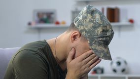 Anxious military veteran suffering stress, posttraumatic disorder, mental health. Stock footage stock footage