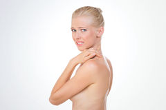 Anxious nordic beauty on her back Stock Photography