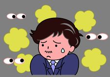 Anxious od smell. A man anxious of self smell stock illustration