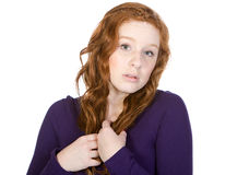 Anxious Red Headed Teenager. Shot of an Anxious Red Headed Teenager Royalty Free Stock Image