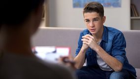 Free Anxious Teenager Visiting Psychologist For Personal Therapy Session, Problems Stock Photography - 157314562