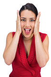 Anxious tied haired brunette posing Royalty Free Stock Photo
