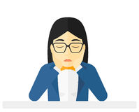 Anxious woman clutching her head. Vector flat design illustration  on white background Stock Image