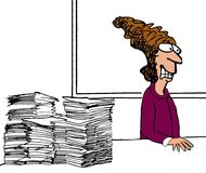 Anxious woman with paperwork. Stressed out female executive with paperwork Stock Images