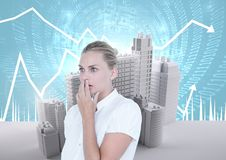 Anxious worried businesswoman and Buildings with code and economic scales background. Digital composite of Anxious worried businesswoman and Buildings with code stock photo