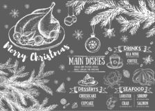 anyżowego bożych narodzeń rozwidlenia wakacyjny ilustracyjny menu pomarańcze wektor Restauracyjny cukierniany menu, szablonu proj royalty ilustracja
