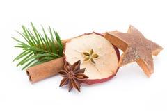anyżowych bożych narodzeń cynamonowe kulinarne składników pikantność grać główna rolę kije Apple, anyż, gwiazdy, cynamon, sosna o obrazy stock
