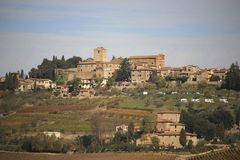 Italy, Tuscany, Chianti zone, Panzano in Chianti village. Any, Chianti zone, Panzano in Chianti village and old house and vineyard royalty free stock photography