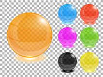 Any color transparent glass balls set. Stock Photo