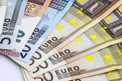 Any Euro banknotes in detail. Stock Photo